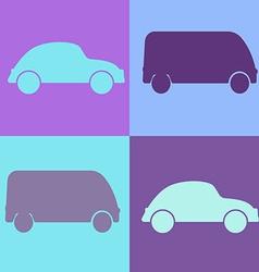 Set cartoon cars - background vector