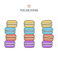 Set of isolated colorful doodle macaroon Sketch vector image