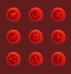 Set of red elements for ui game vector