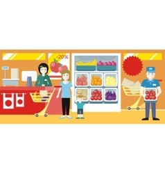 Shopping in Grocery Store Concept vector image vector image