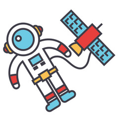 spaceman in space with spaceship astronaut vector image