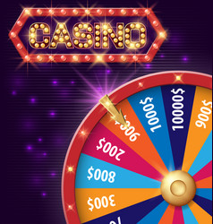 spinning fortune wheel internet casino banner vector image