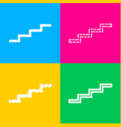 Stair up sign four styles of icon on four color vector