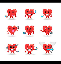 Valentines day social media heart emoji set vector
