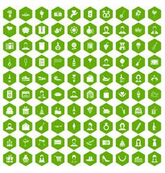 100 birthday icons hexagon green vector