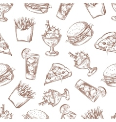 Fast food seamless background menu pattern vector image