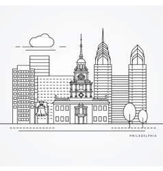 Independence hall the symbol of philadelphia usa vector