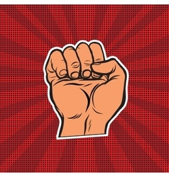 Pop art retro fist vector