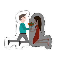 kneeling couple love with flowers shadow vector image