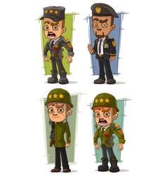 Cartoon army general character set vector