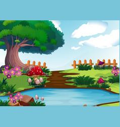 scene with river in garden vector image
