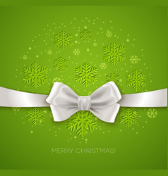 Green christmas background ribbon with white silk vector