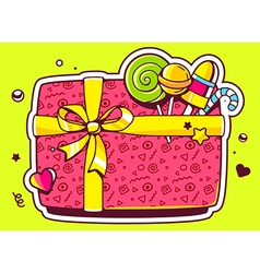 Gift box top view and confectionery on gr vector