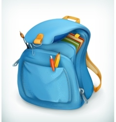 Blue school bag vector image