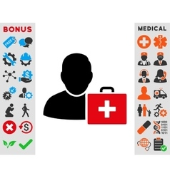 First aid man icon vector
