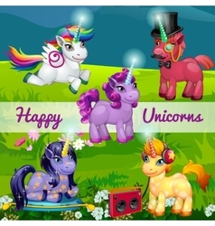 Unusual cartoon unicorns in a meadow vector