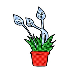 Comic cartoon orchid plant vector