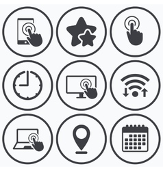 Touch screen smartphone hand pointer symbols vector