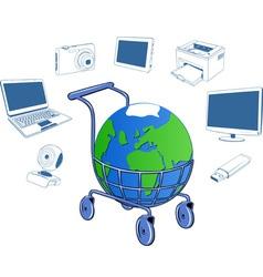 Shopping cart containing a globe vector image