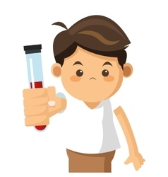 Little boy holding test tube icon vector