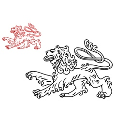 Vintage medieval lion silhouette vector