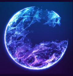 Abstract blue demolished sphere vector