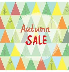 Autumn sale banner with trees in abstract style vector