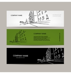 Banners design with cityscape sketch vector