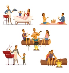 Barbecue picnic retro cartoon icons set vector