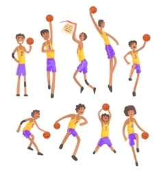 Basketball players of same team action stickers vector