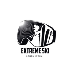 Black and white graphic mountain skiing goggles vector