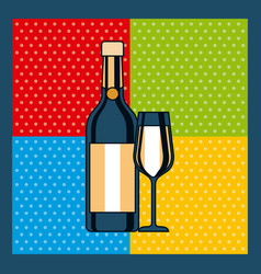 bottle champagne and glass celebration colors vector image