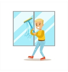Boy washing windows with squeegee smiling cartoon vector