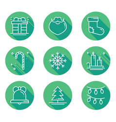 christmas holiday thin line icons set with long vector image vector image