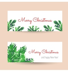 Christmas tree brunches banners vector