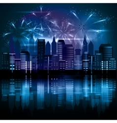 City at night with fireworks vector