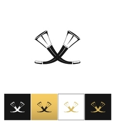 Crossed hunting horns icon vector image vector image