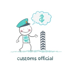 Customs officer thinks about money vector