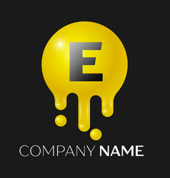 e letter splash logo yellow dots and bubbles vector image vector image