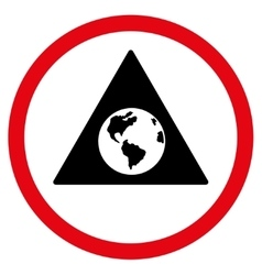 Earth Warning Flat Rounded Icon vector image vector image