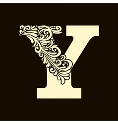 Elegant capital letter y in the style baroque vector