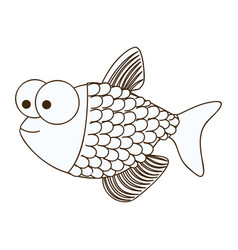 figure happy fish scalescartoon icon vector image vector image