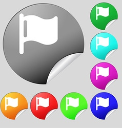 flag icon sign Set of eight multi-colored round vector image vector image