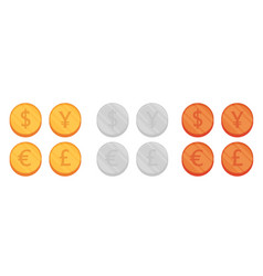 Flat coin set vector