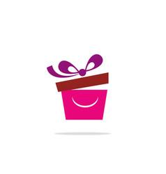 gift box smile logo vector image