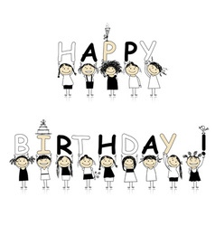 Happy birthday from beautiful smiling girls vector image