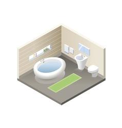 Isometric bathroom set of modern bath furniture vector
