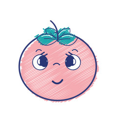 Kawaii nice shy tomato vegetable vector
