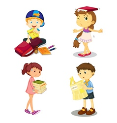 kids and books vector image vector image
