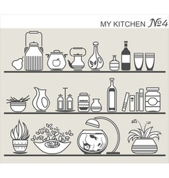 Kitchen utensils on shelves 4 vector image vector image